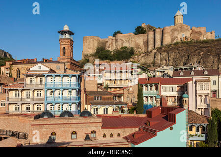 Georgia, Tbilisi, Old Town, Muslim Quarter, Tbilisi Mosque and Narikala Fortress - Stock Photo