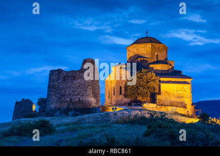 Georgia, Mtskheta, spiritual town where Christianity was established in 327AD, Jvari Church - Stock Photo