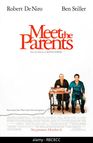 Meet the Parents (2000) directed by Jay Roach and starring Ben Stiller, Robert De Niro, Teri Polo and Owen Wilson. Greg Focker meets his girlfriend's protective and CIA trained father. - Stock Photo