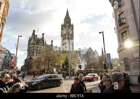 Manchester's Town Hall in Albert Square - Stock Photo
