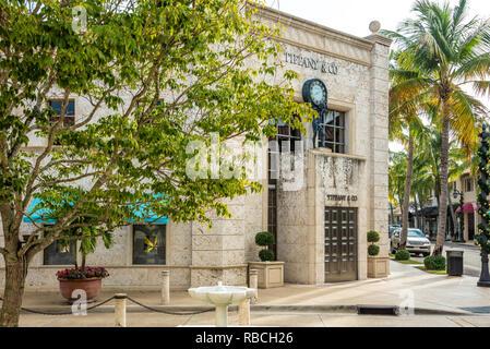Tiffany & Co. on Worth Avenue in Palm Beach, Florida. (USA) - Stock Photo