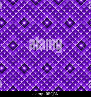 Purple seamless geometric pattern grid made of lozenges - Stock Photo