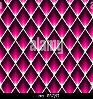 Abstract geometric seamless tile pattern with pink lozenges with acute angles - Stock Photo