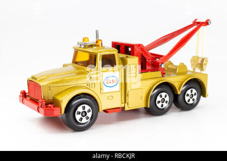 Matchbox model of heavy wreck truck, Super Kings K-2. Front view. - Stock Photo