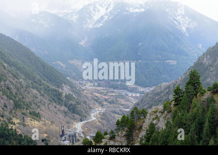Landscapes from Canillo to the Meritxell Sanctuary in Andorra. - Stock Photo