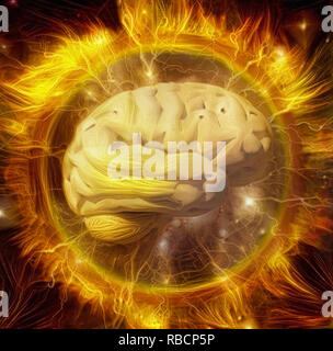 Vivid composition. Power of mind. Human brain radiates electric charges in circle of fire - Stock Photo