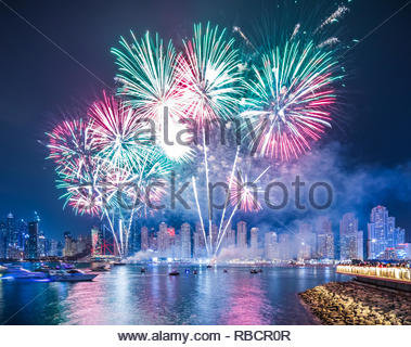 Fireworks Show at Bluewaters and the Beach Dubai during UAE National Day. - Stock Photo