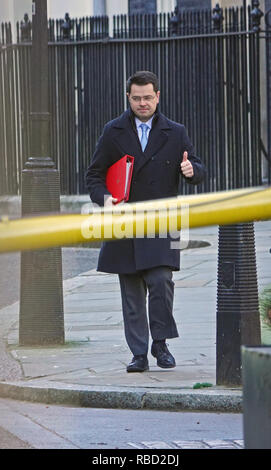 10 Downing Street, London, UK. 8th Jan, 2019. Cabinet Ministers and Brexit protestors at the official residence of the Prime Minister. Thumbs up from James Brokenshire, Housing and Communities Minister leaving cabinet meeting. Credit: Alamy Live News/Andy Stehrenberger - Stock Photo