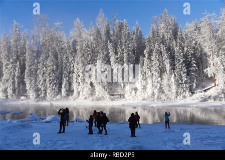 Xinjiang, Xinjiang, China. 9th Jan, 2019. Xinjiang, CHINA-Stunning winter scenery of Kanas Scenic Area in Xinjiang. Credit: SIPA Asia/ZUMA Wire/Alamy Live News - Stock Photo