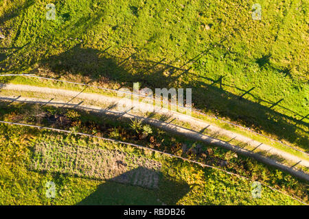 abstract aerial view of autumn rural road, Yaremche, Ivano-Frankivsk  Oblast, Ukraine - Stock Photo