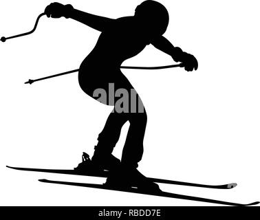 alpine skiing men jump downhill black silhouette - Stock Photo