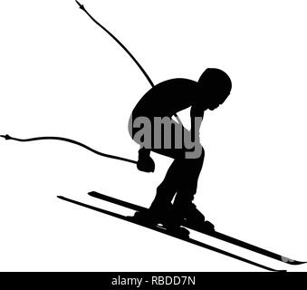 alpine skiing men downhill jump vector illustration - Stock Photo