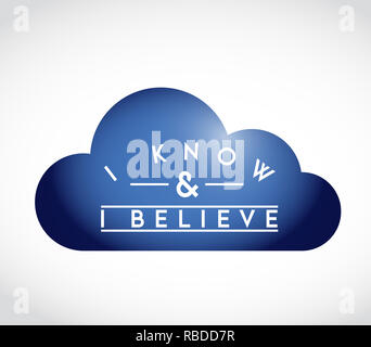 I Know, I Believe union cloud concept. infographic illustration. white Background - Stock Photo