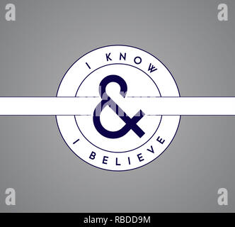 I Know, I Believe puzzle pieces union concept. infographic illustration stamp. Gray Background - Stock Photo