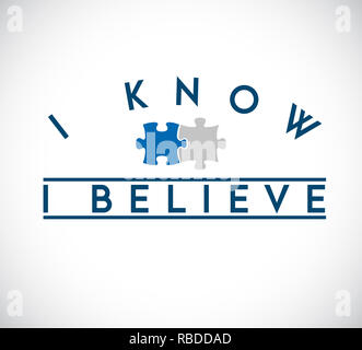 I Know, I Believe puzzle pieces union concept. infographic illustration stamp - Stock Photo