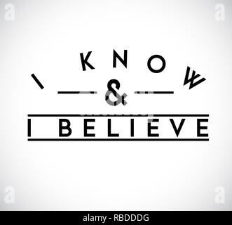I Know, I Believe union text stamp concept. infographic illustration. Gray Background - Stock Photo