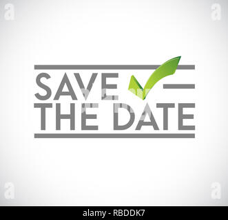 Save the date stamp check mark concept. infographic illustration. white Background - Stock Photo
