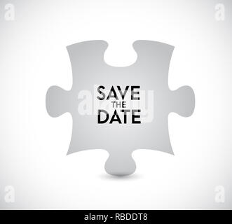 Save the date puzzle missing piece concept. infographic illustration. White Background - Stock Photo