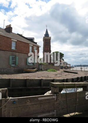 view of beach and peters tower in Lympstone Devon - Stock Photo