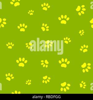 Seamless pattern of yellow paw prints on green background. - Stock Photo