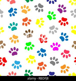 Colorful paw prints of animals on white background seamless pattern - Stock Photo