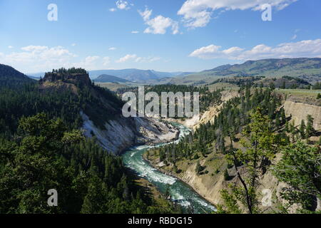 Calcite Springs Overlook, Yellowstone National Park - Stock Photo