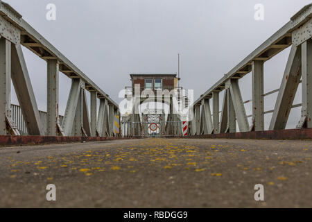 Locked steel bridge - passage prohibited - Stock Photo