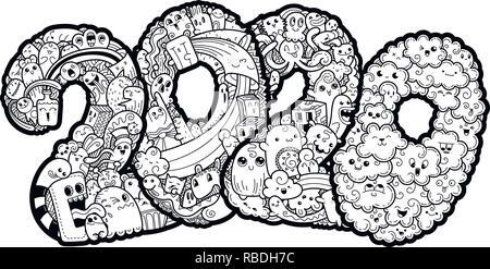New Year Coloring Pages 2020 New year 2020. Monster doodle date. Ornate holiday symbol. Vector
