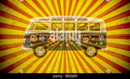 old hippie Volkswagen camper on the retro background - Stock Photo