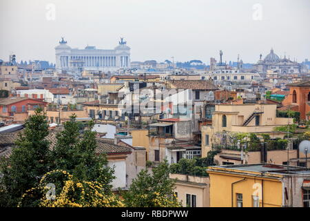 A city view toward Basilica di San Pietro and Vittoriano from a terrace of the Pincian Hill Rome Lazio Italy Europe - Stock Photo