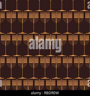 Seamless pattern with traditional symbols of Hanukkah.  Jewish holiday Hanukkah  design with menorah isolated on dark background. Vector illustration. - Stock Photo
