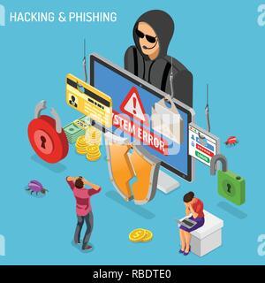 Hacker Phishing Activity Isometric Concept - Stock Photo