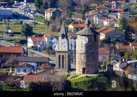 Old buildings seen from above, Tarascon sur Ariege, Ariege, French Pyrenees, France - Stock Photo