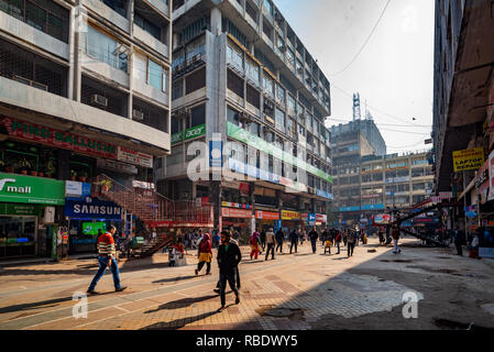 The spaces between the towers of Nehru Place - a haven for computing, communications and technology in New Delhi, India - Stock Photo