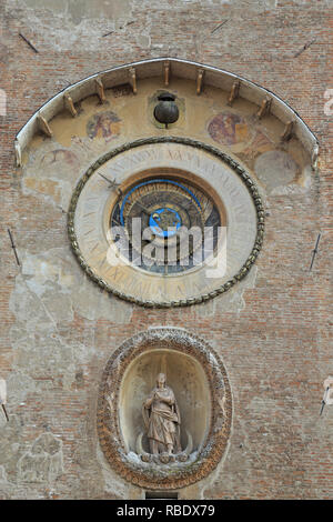 Astronomical clock detail, Torre dell'Orologio, Mantua, UNESCO World Heritage Site, Lombardy, Italy. - Stock Photo