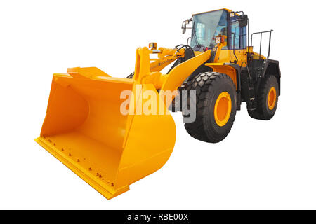 Loader excavator construction machinery isolated with  clipping path. - Stock Photo