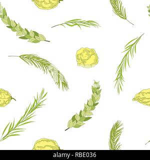 Happy Sukkot seamless pattern. Jewish holiday huts endless background. Repeated texture with branches of myrtle, willow, palm, citron fruits. Vector i - Stock Photo