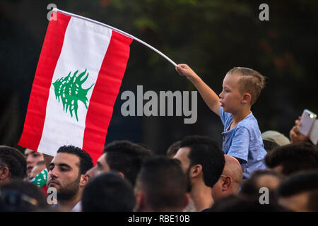 Beirut, Lebanon - August 29, 2015: A boy with the flag of Lebanon on a protest against trash crisis. Arabic spring protest in Beirut, Lebanon