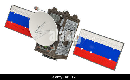 Satellite of Russia, 3D rendering isolated on white background - Stock Photo
