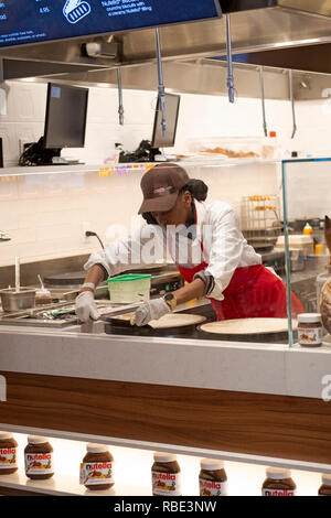 Inside the new NUTELLA CAFE on University Place near Union Square Park in lower Manhattan, New York City. - Stock Photo
