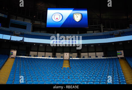 General view of a scoreboard inside the stadium before the Carabao Cup, semi final match at the Etihad Stadium, Manchester. - Stock Photo