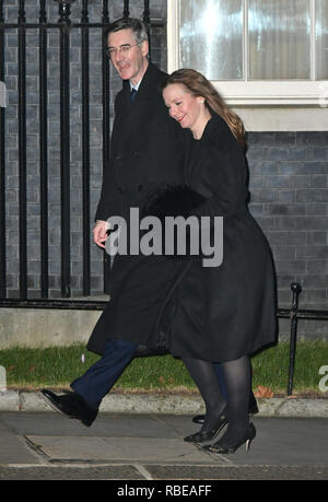 Conservative MP Jacob Rees-Mogg and wife Helena arriving in Downing Street, central London for a reception. - Stock Photo