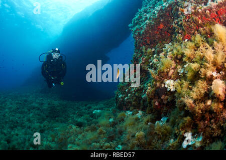 Panoramic view of a female scuba diver near the underwater arch of El Arco dive site in Ses Salines Natural Park (Formentera, Balearic Islands, Spain) - Stock Photo