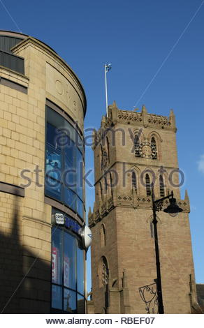 Overgate Shopping Centre and St Marys Tower Dundee Scotland  January 2019 - Stock Photo