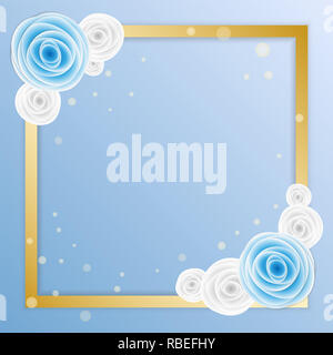 Love greeting card with blue and white rose in paper art style - Stock Photo