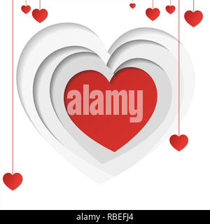 Heart in paper style with gold decoration around and copy space - Stock Photo