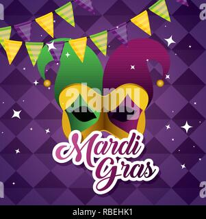 party banner with festival mask to mardi gras - Stock Photo