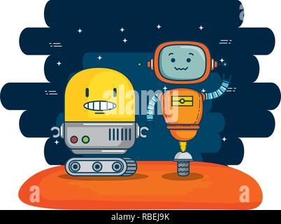 couple of cute robots with universe background - Stock Photo