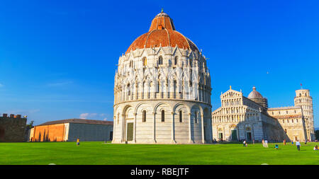Baptistery, Cathedral and Leaning Tower, Campo dei Miracoli, Pisa, Tuscany, Italy, Europe - Stock Photo