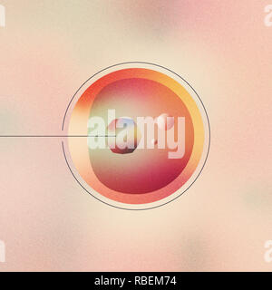 Digital illustration of human gene therapy, artificial cell editing, futuristic virus transplantation. - Stock Photo